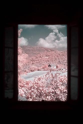 longexposure italien trees summer italy house window clouds landscape ir fotograf infrared fujifilm marche semester 2014 falsecolour r72 fossombrone xpro1 hoyairfilter fujinonxf35mm martinmartinsson wiewoutofthewindow invertedcolorchannels