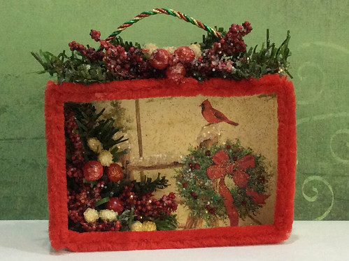 Winter cardinal  Christmas card shadow box
