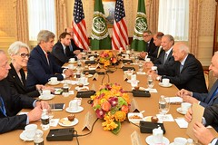 U.S. Secretary of State John Kerry meets with Arab League Secretary General Nabil al-Araby in New York City on September 23, 2014. The Secretary is holding meetings in conjunction with the 69th Session of the United Nations General Assembly. [State Department photo/ Public Domain]