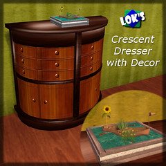 September Subscriber Gift: Crescent Dresser with Decor