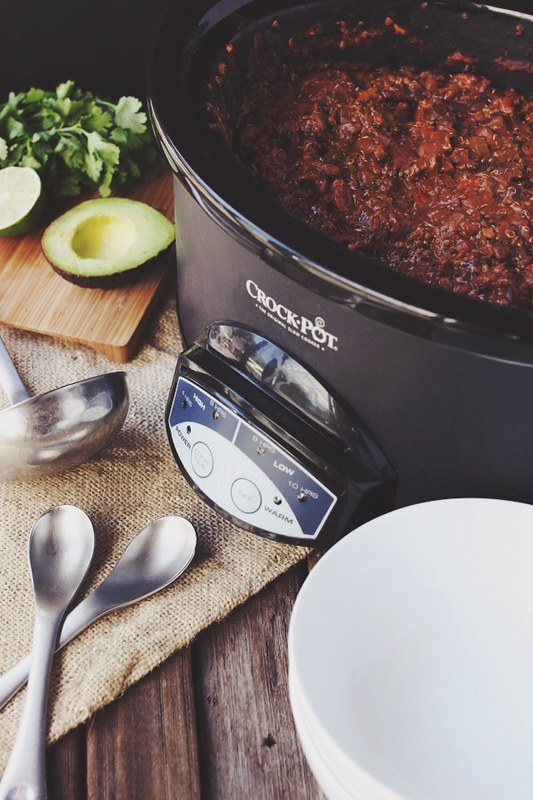 Slow Cooker Quinoa Chili (Gluten-free + Vegan)