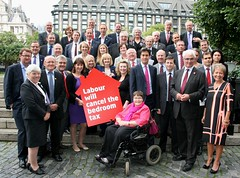 With Labour colleagues at Westminster after voting to cancel the bedroom tax