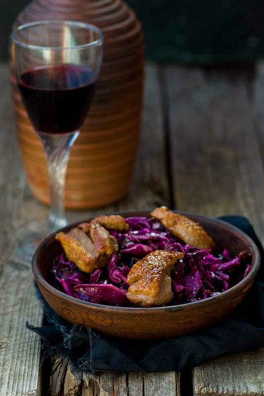 red cabbage and duck breast spicy  salad