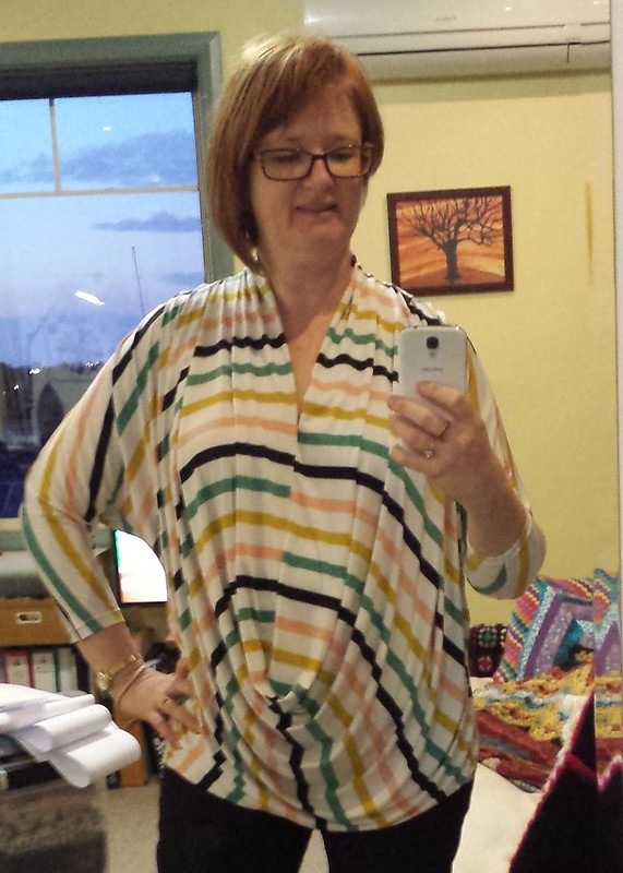 McCalls 6841 in stripe knit from Darn Cheap Fabrics