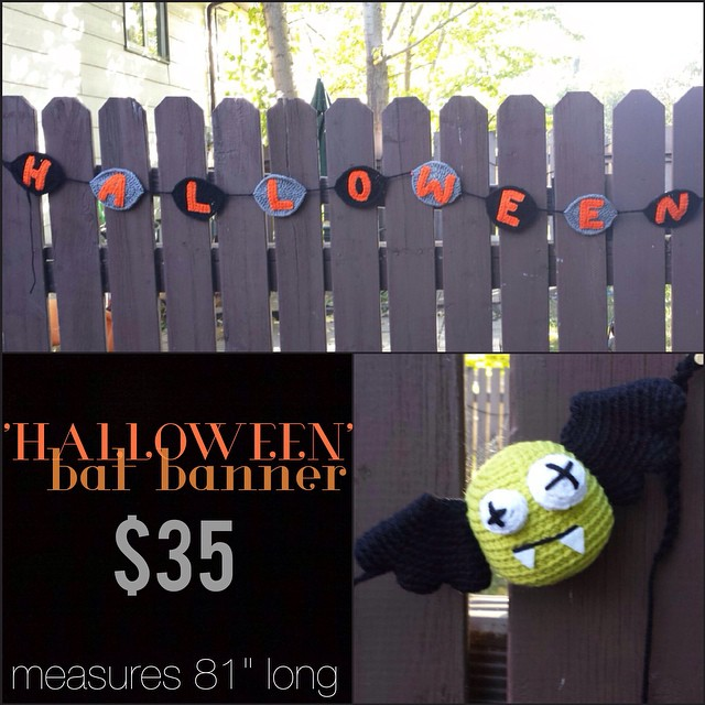 "'HALLOWEEN' bat banner, 81"" long, $35+shipping. please leave email & location, first comment gets it! shipping costs: Canada-$10 US- $12"