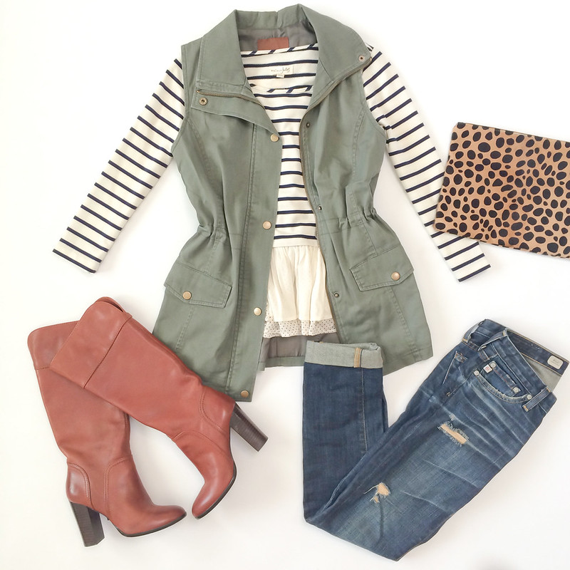Outfit layout - olive vest and leopard