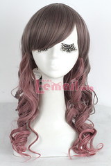 50cm long Grey mix fade bleach Ombre Pink wavy Cosplay wig