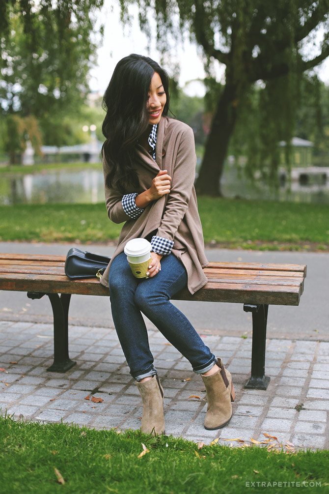 Taupe and gingham, extrapetite, booties