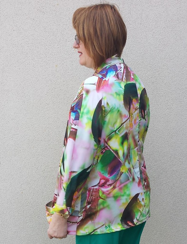 Tessuti Tokyo Jacket in digitally printed poly crepe from Darn Cheap Fabrics
