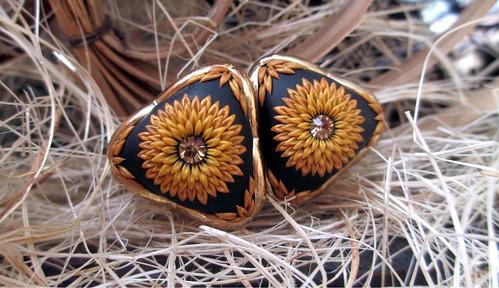 HANDMADE * Sunny Gold Ear studs Earrings by Lena Handmade Jewelry