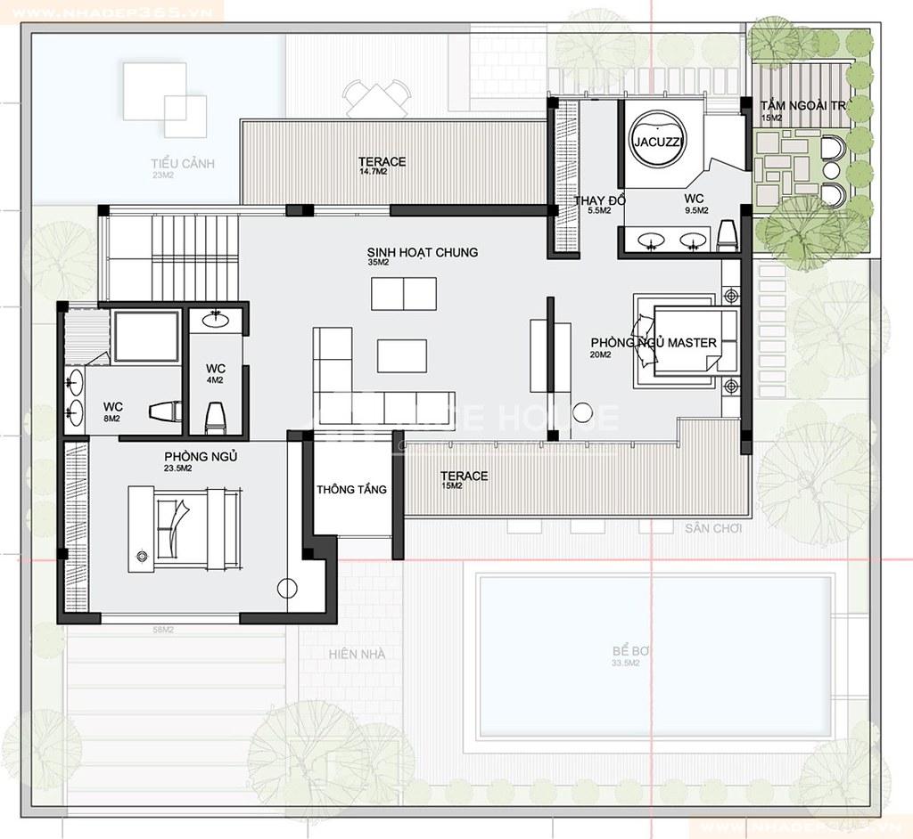 Mặt bằng tầng 2 biệt thự hiện đại