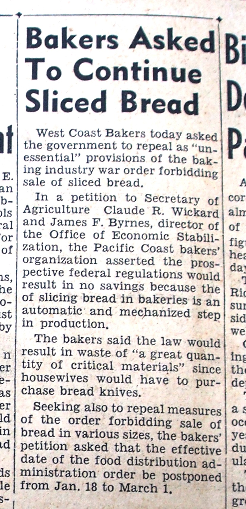 sliced bread 1943