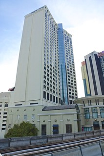Sheraton Grande Hotel on Sukhumvit road in Bangkok, Thailand, seen from Asok BTS Skytrain station