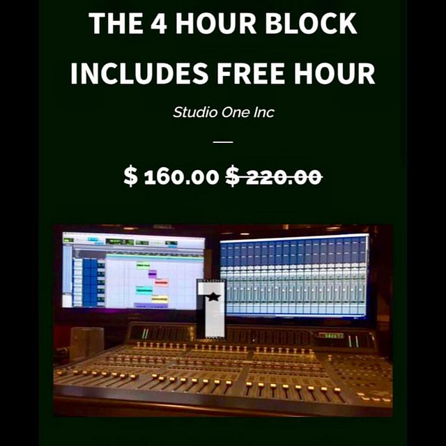 THE 4 HOUR BLOCK includes the free hour . great for singer/songwriter engineer included Online specials https://www.madplugz.com/products/copy-of-the-8-hour-block #studiolife #stufiotime #recordingstudio #wetheones #madplugz #donjosenetwork #wetheones #2p