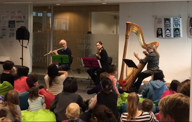 Flute, violin and harp ensemble, Upper Riccarton Library