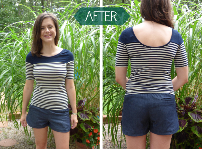 Denim Tunic to Prefontaine Shorts Refashion after by Hey, it's SJ