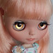 OOAK Hand-Painted Eye Chips for Blythe Doll - Golden Pink Lemonade Splash with Glitter by Oly in Wonderland