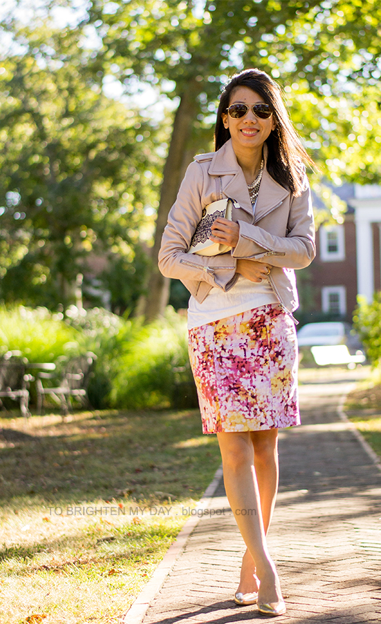 lilac leather jacket, floral pencil skirt, rose gold wedges, lace printed clutch