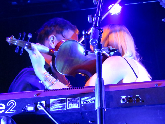 Mikel Jollett and Anna Bulbrook of The Airborne Toxic Event get up close and personal - Fillmore Night 3. Photo by Julie.