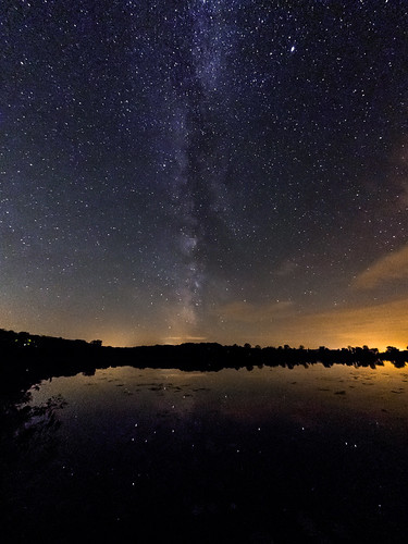 park trees summer sky lake reflection fall nature water wisconsin night rural dark stars photography star photo glow darkness unitedstates natural state farm september galaxy astrophotography area recreation milkyway 2014 browntown beckmanlake cadizsprings