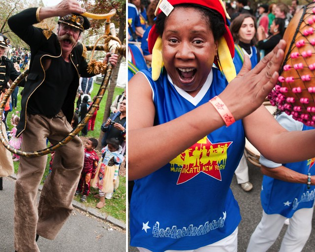 Mortal Beasts & Deities stilt dancers (left). Maracatu NY (right). Photos by Jason Gardner.