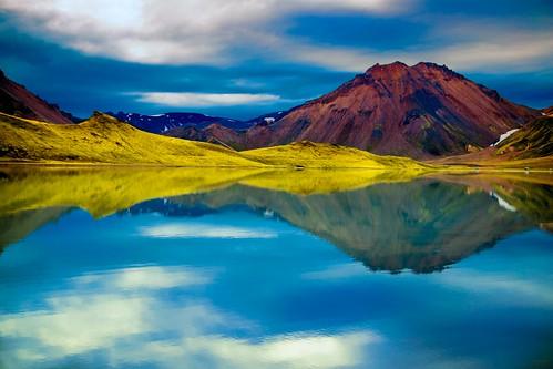 travel lake reflection nature water volcano iceland lapinski
