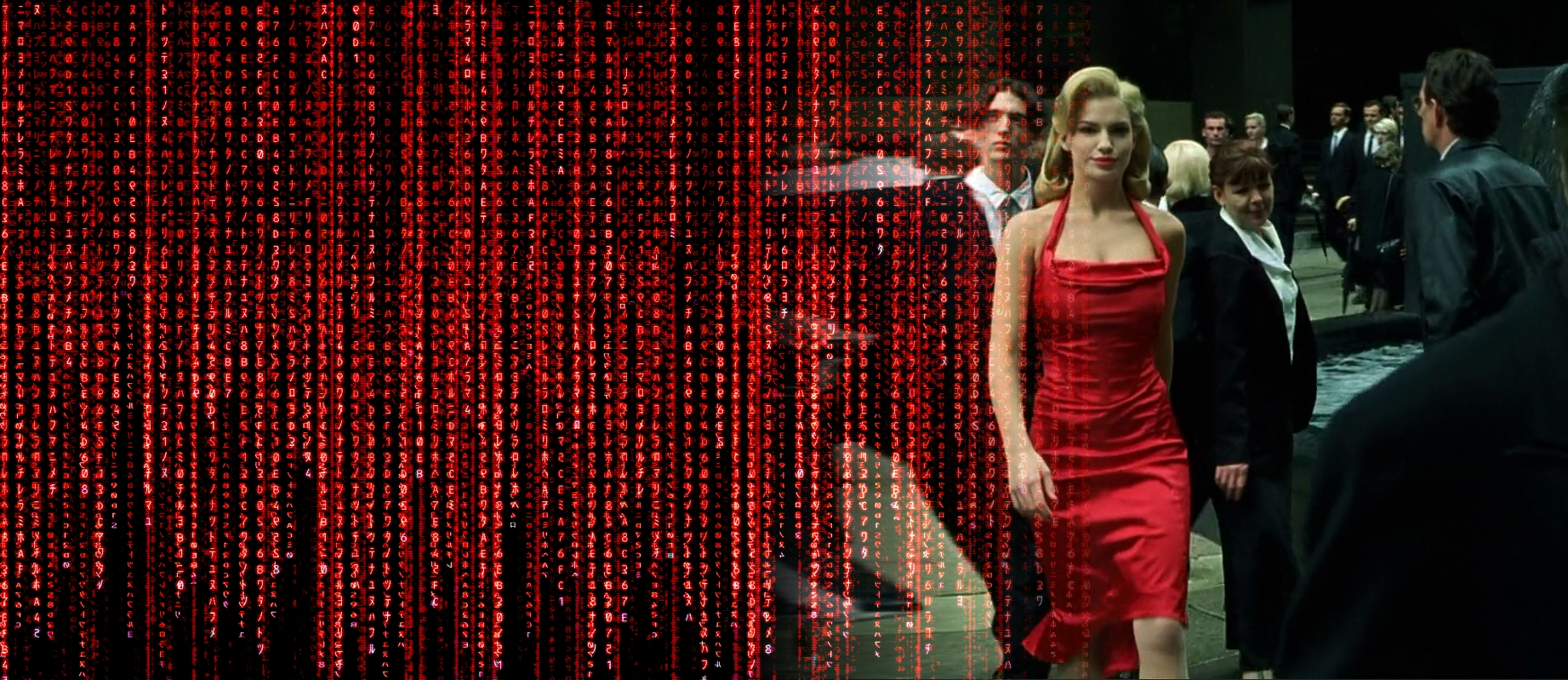 Girl in red dress matrix