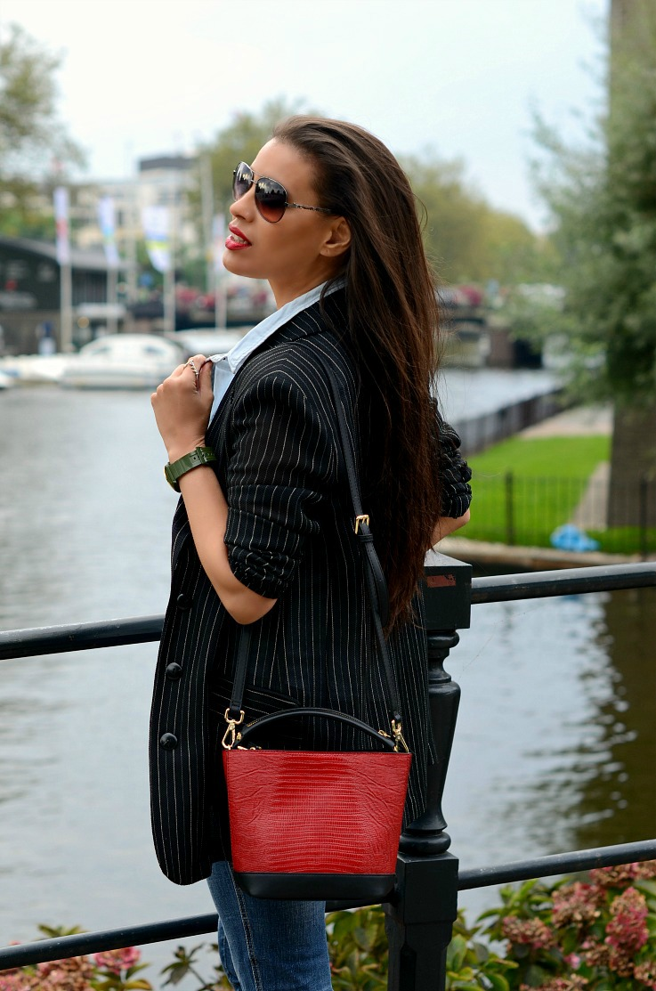 DSC_8463 Red Zara Bag, Pin Striped blazer, Amsterdam, Tamara Chloé(2)