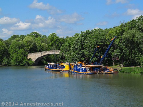 Dredging equipment at the confluence of the Genesee River and the Erie Canal along the Genesee Riverway Trail, Rochester, New York