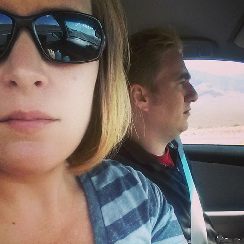 Hey look its us!!  Driving to las vegas like we're 25 to go to a concert and then turn around and drive home like it ain't no thing.  #kingsofleonin30hours #weusedtobethecouplethatdidthings