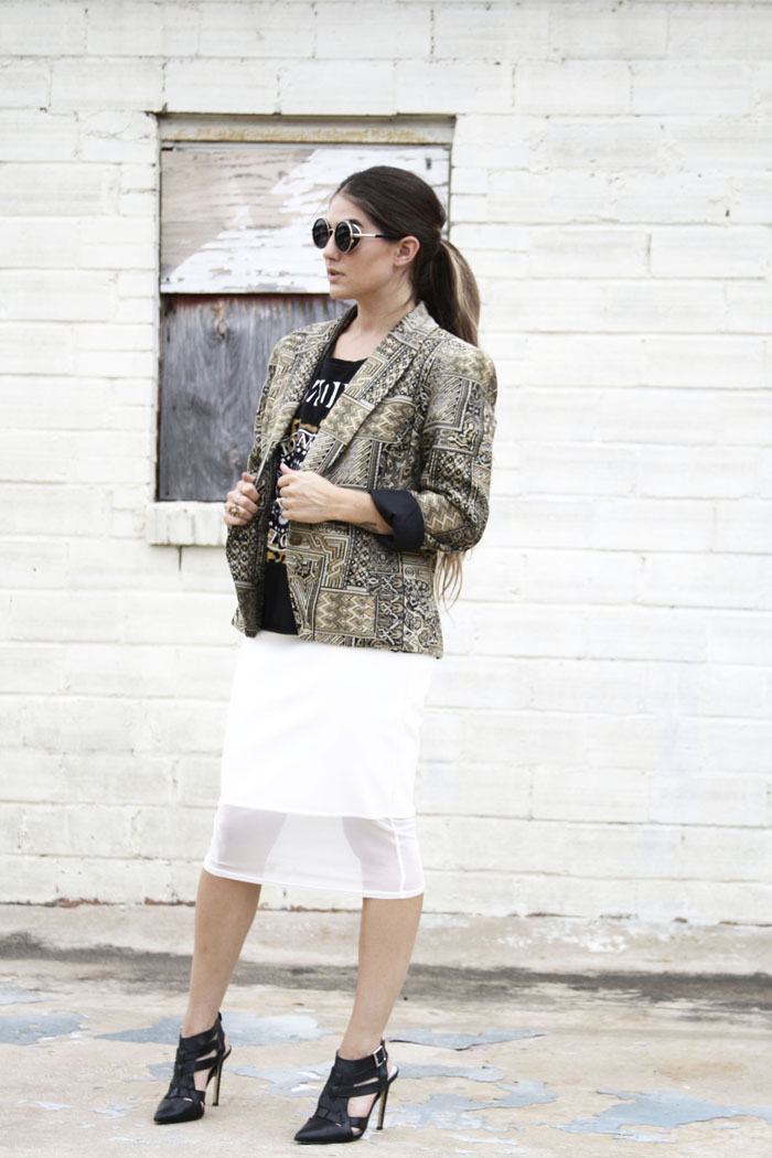 Fringe of the Cro | Edgy outfit for work in statement jacket, modern sunglasses, ramones top, leather skirt, black heels
