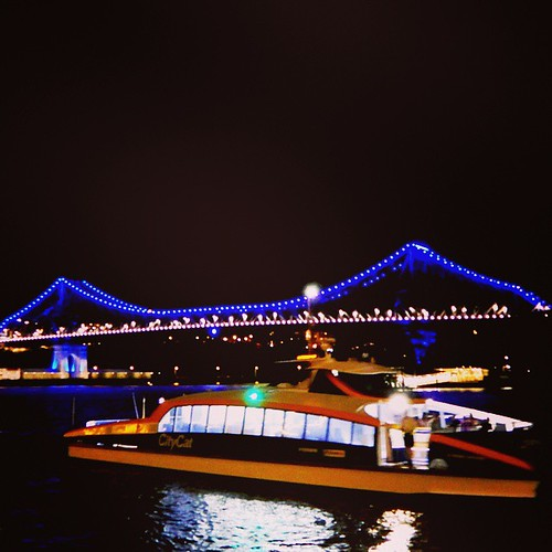 The Story Bridge is blue and white to commemorate National Police Remembrance Day. #BrisbaneAnyDay