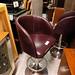 Plum leather and chrome bar stool
