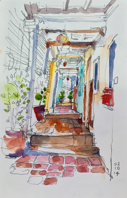 Sketching old shophouses at Emerald Hill.