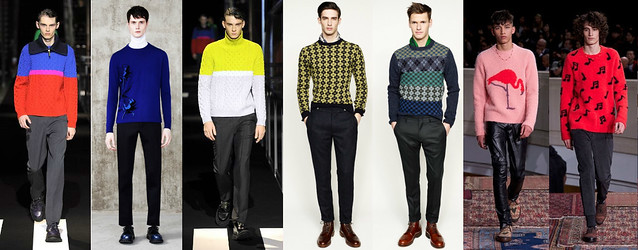 Knitwears-for-autumn-winter-trend,men's windowpane sweaters, punk style, men's punk inspired style, men's floral shirts, men's floral coats, men's floral blazers, men's floral trousers, floral print for men