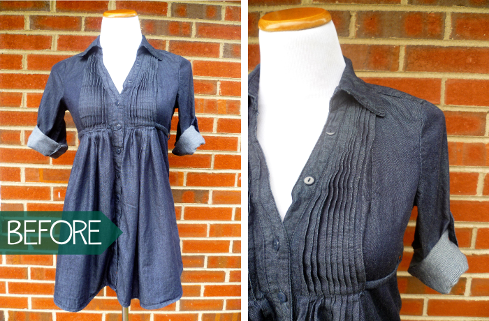 Denim Tunic to Prefontaine Shorts Refashion before by Hey it's SJ
