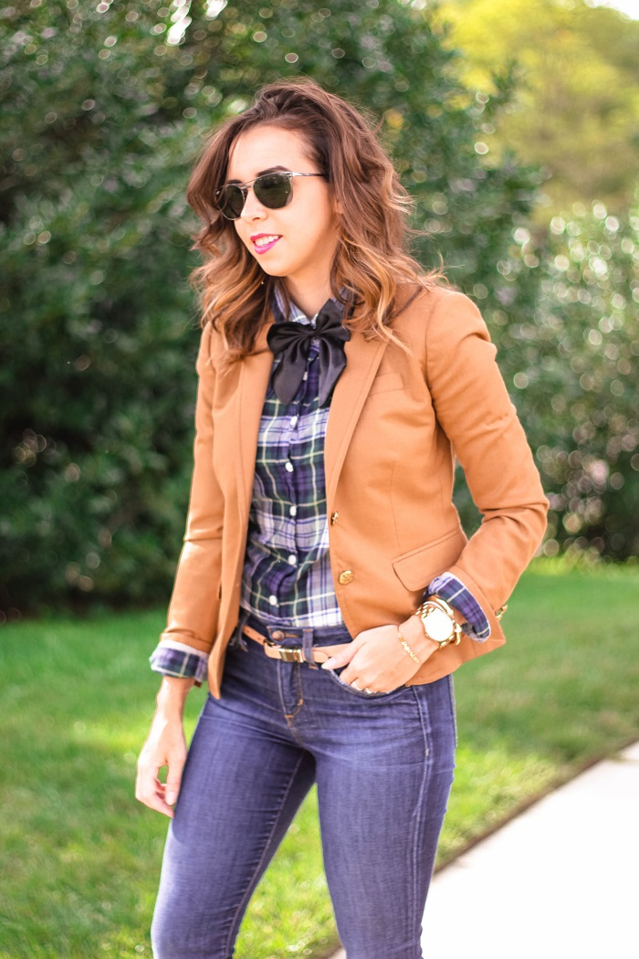 tan blazer. plaid button down. dolce vita booties. womens bow tie. fall casual wear. va darling. andréa viza. dc blog. dc blogger. dc fashion. 9