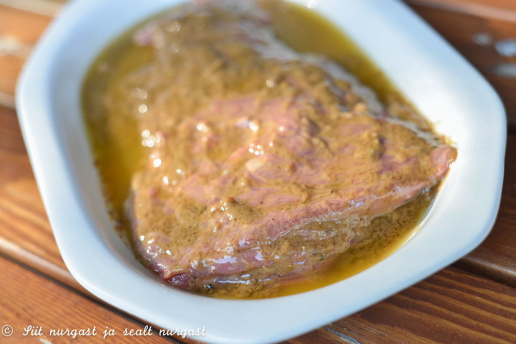 bavette (flank steak) in marinade