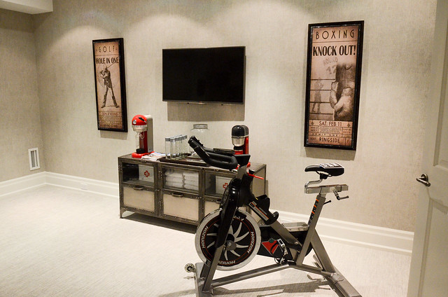 Cozy gray Home gym and yoga room ideas Princess Margaret Showhome in Oakville