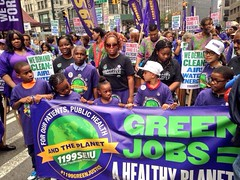 Following the meeting organised by the Trade Unions for Energy Democracy, participants joined in the People's Climate March where over 400,000 people demonstrated in the streets of New York on 21 September 2014.