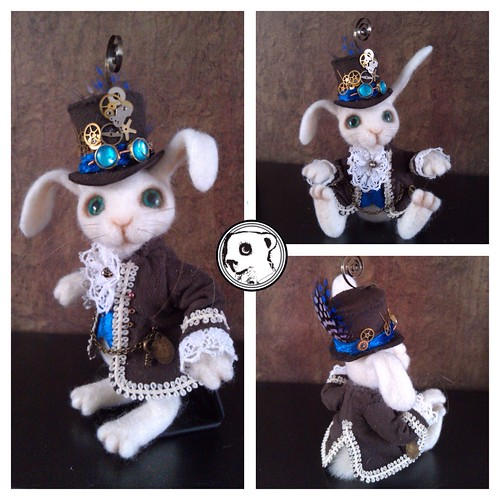 Needlefelted steampunk bunny