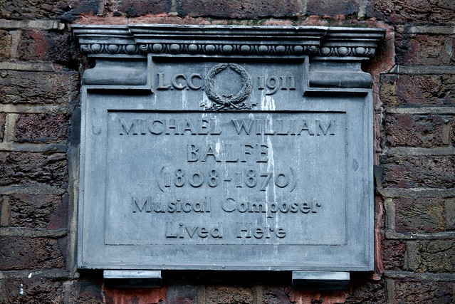 Michael William Balfe grey plaque - Michael William Balfe (1808-1870) musical composer lived here