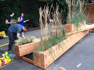 """Installation of """"Log Dam"""", Center for Architecture, Design Competition Finalist 2014"""