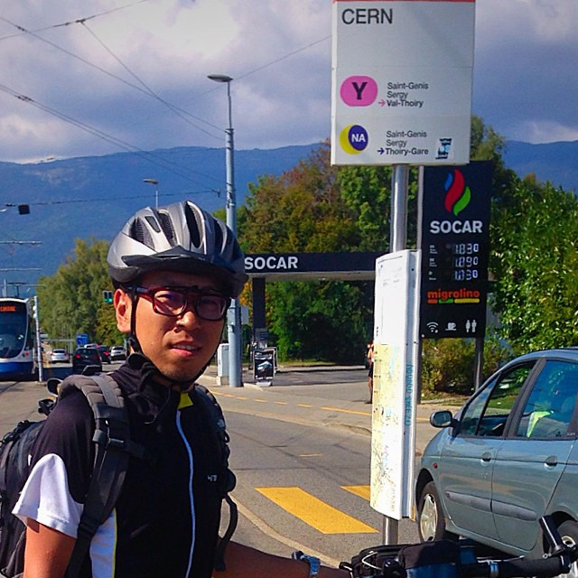 me and my bike arrive at #cern #geneva #switzerland #biketouring #europe