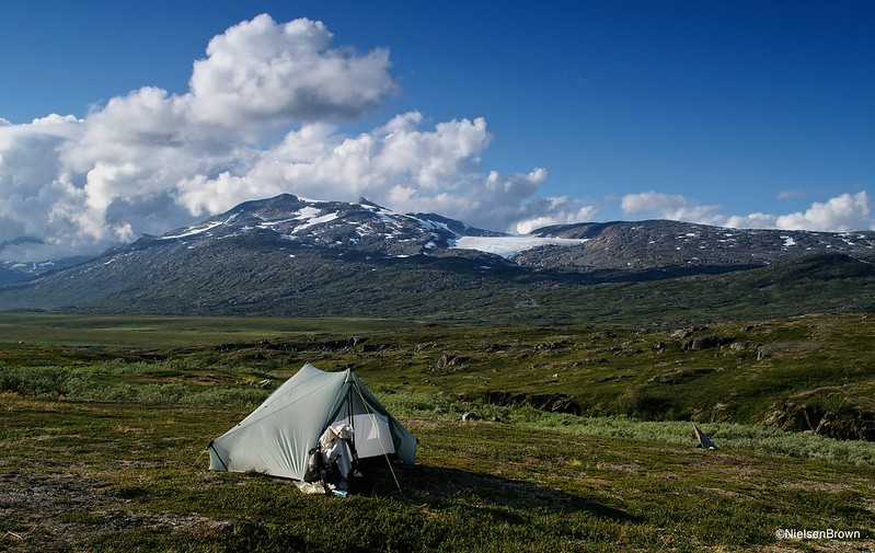 Camp above Cunojohka, Storsteinsfjellet in background-imp