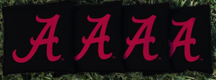 ALABAMA CRIMSON TIDE BLACK CORNHOLE BAGS
