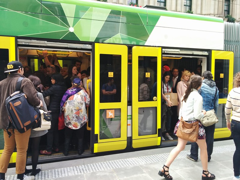 Packed CBD tram