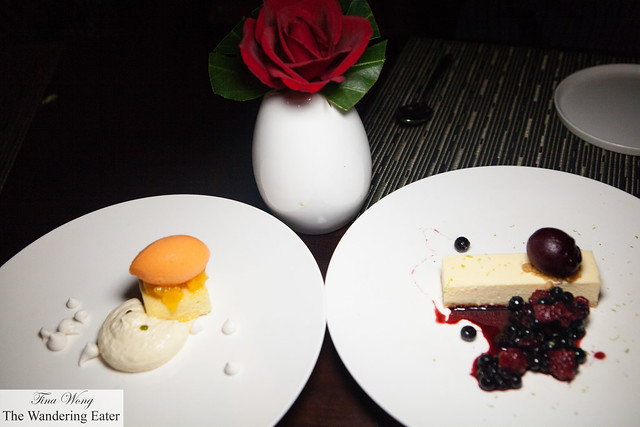 Carrot sorbet, cream cheese mousse, orange salad and Crème fraîche cheesecake, berry sorbet, mixed berries compote