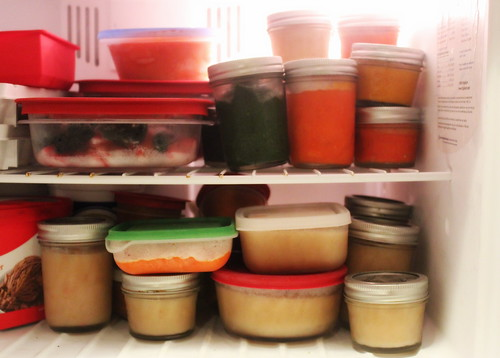 20140930. Our freezer is a magical, colorful land of baby food.