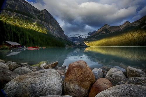 mountain lake canada water rock clouds sunrise reflections landscape nikon rocks louise alberta glaciers serene lakelouise canadianrockies muontains d810 nikond810 nikkor1424mm